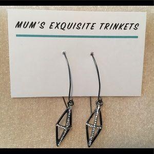 Pewter Gothic Style Cross Earrings in Rhinestones